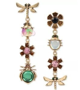 Betsey Johnson Bug & Flower Droo Earrings NWT
